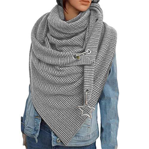 OZZlOR Damen Schal Dreieck Schal Shawl Groß Elegant wickelschal damen mit knopf Lässig Herbst Winter Schal Halstücher Poncho Weicher Schal(B#Grau,One Size)