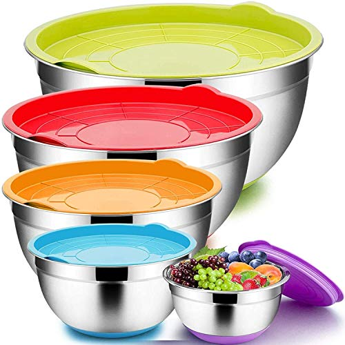 YUNLAN Mixing bowl, set with lid, 1.5/2.5/3/5/8 QT, stainless-steel massive steel nested salad bowl set, 5 per set, sturdy and sturdy, non-slip backside and hermetic lid, clear scale and depth mixing