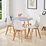 <span class='highlight'><span class='highlight'>GOLDFAN</span></span> Dining Table and 4 Chairs Kitchen Table Morden Wood Round Dining Room Set(Grey & White)