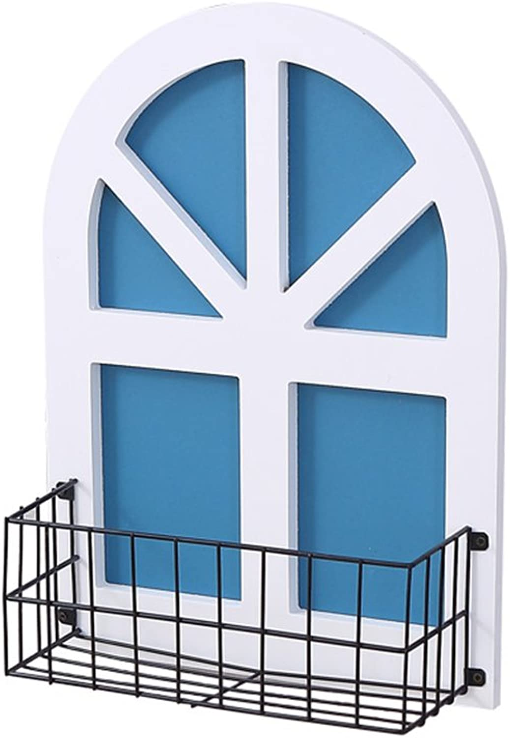 Wall Shelf Living Room Bedroom Decoration Background Wrought Iron Window Simple Wall Decoration Wall Hanging Punch-Free Decorative Flower Stand (color   White)