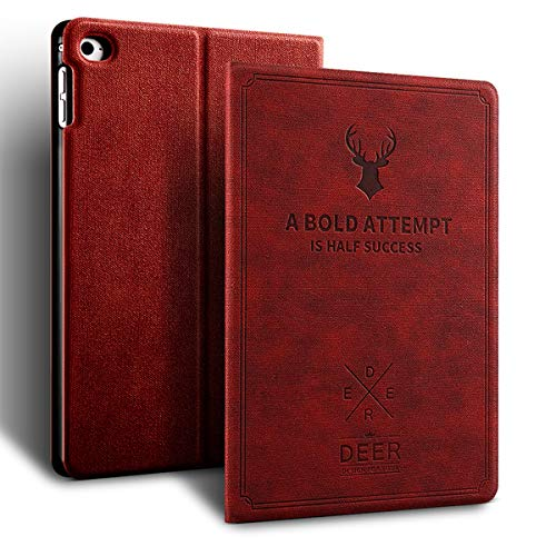 aoub iPad 7th Generation Case 10.2 2019 Ultra Thin Lightweight Canvas Smart Cover Nordic Style with Auto Sleep/Wake for iPad Cover for iPad 7th Generation.(Red Wine)
