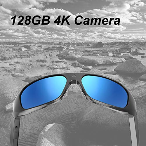 OHO 4K Ultra HD Water Resistance Video Sunglasses, Sports Action Camera with Built-in 128GB Memory and Polarized UV400 Protection Safety Lenses,Unisex Sport Design