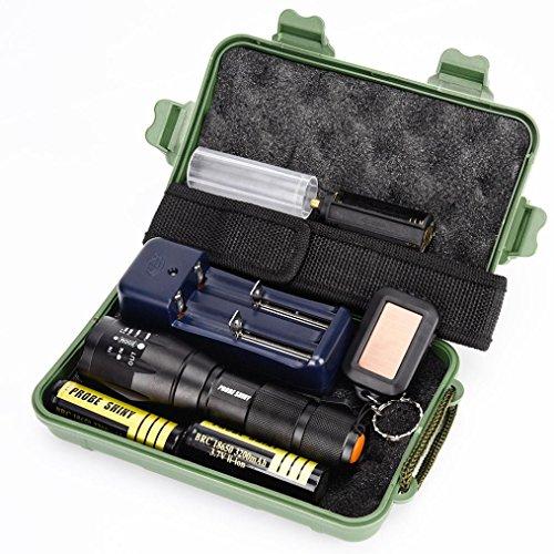 Flashlight, FAMILIZO Brillante G700 X800 LED Zoom Militar Grado Linterna TáCtica De La Antorcha + 18650 Batería + Cargador + Caso
