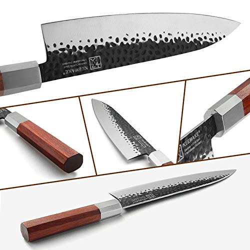 Japanese Chef Knife 8 inch Sharp Kitchen Knife with w/octagon Ebony Handle, Forged German High Carbon Steel Gyuto Knife Cooking Knife- Keemake