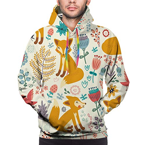 Men's 3D Print Hoodies Sweatershirt, Natural Wildlife Composition with Cute Foxes Ornate Flowers Flying Birds Kids Nursery L
