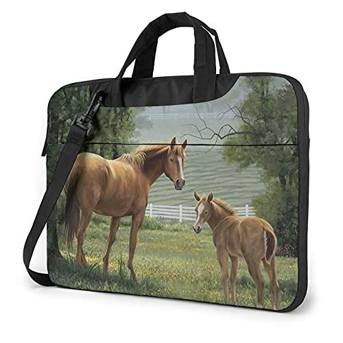 Bolsa para portátil de 13-15,6 Pulgadas Animales Bordados Cuadros Caballos Bolso de Hombro para portátil Bolso de Hombro Elegante Ordenador Portátil