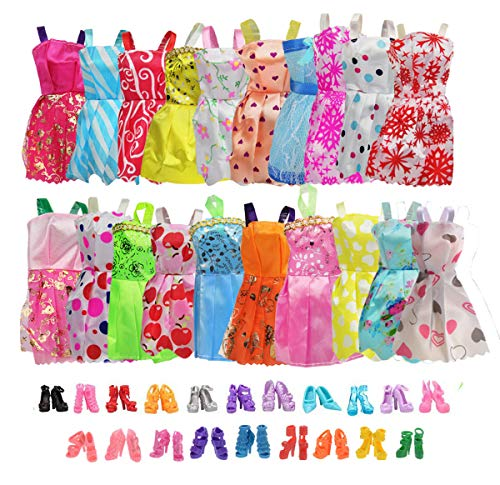 20 Pack Party Gown Outfits Dresses with 20 Pairs Doll Shoes for Barbie Doll Girl
