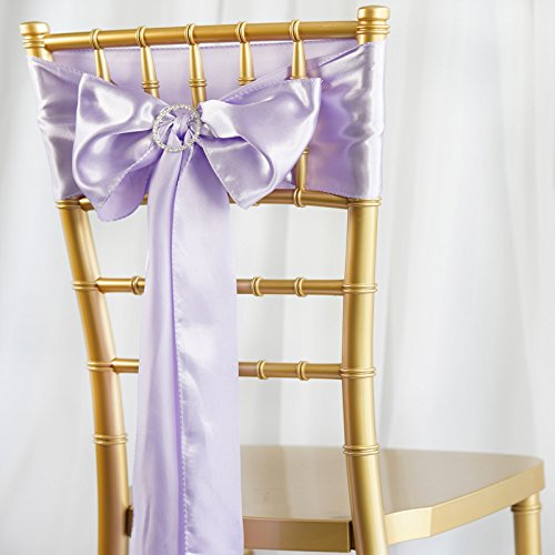 BalsaCircle 50 Lavender Satin Chair Sashes Bows Ties for Wedding Decorations Party Supplies Events Chair Covers Decor Banquet Reception