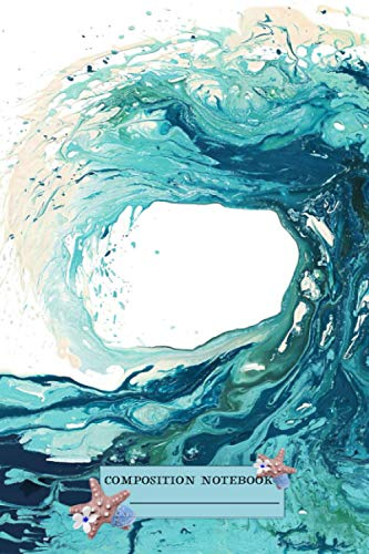 Ocean Wave Art Print Picture - Turquoise Sea Surf Beach Decor Notebook: (110 Pages, Lined, 6 x 9)