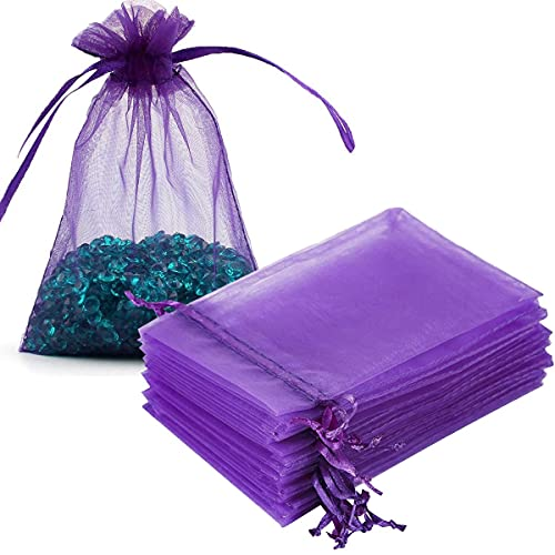 Gmnosuw 100 Count Organza Drawstring Gift Bag for Jewelry,Dried Lavender Flowers,Sheer Fabric 4x6 Inches Mesh Purple Voile Pouch for Baby Shower,Christmas,Baby Girl Birthday,Party Favors,Wedding,Beach