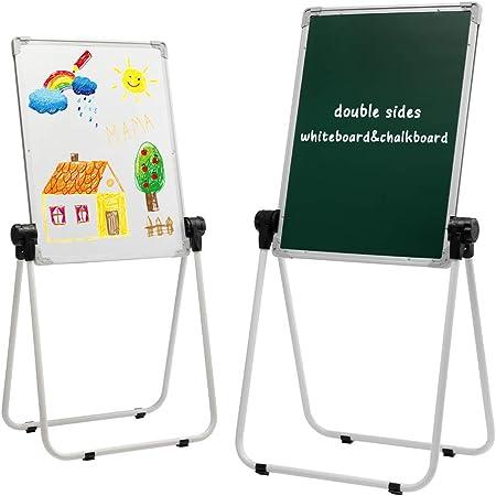 DOEWORKS Pizarra Infantil Caballete para niños Pizarra Blanca y Pizarra Pizarra Magnetica Infantil, Altura Ajustable & 360°Rotación con Conjunto Completo, Blanco