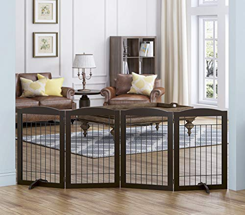 Spirich Freestanding Wire Pet Gate for Dogs, 30 inches Tall Dog Gate for The Houes, Doorway, Stairs, Pet Puppy Safety Fence,Set of Support Feet Included (Espresso, 4 Panels)