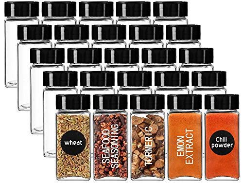 WHISKET Glass Spice Jars Square Glass Bottles with Black Labels (120 ML Each Bottle) (6)