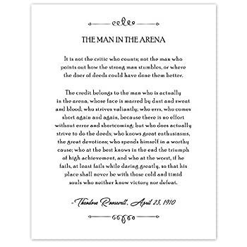 B&W Theodore Roosevelt Man in the Arena Book Quote Poster Prints Set of 1  11x14  Unframed Photo Wall Art Decor Gifts Under 15 for Home Office School College Student Teacher Literary Fan