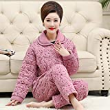 DFDLNL Conjunto de Pijama de Flores pequeñas de Invierno para Mujeres de Mediana Edad, Ropa de Dormir Acolchada Gruesa de 3 Capas para Mujer, Pijama Rosa para Mujer XXXL