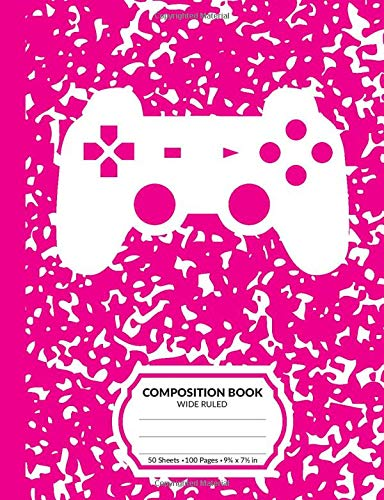 Composition Book: Gamer Hot Pink Marble Pattern School Notebook | 100 Wide Ruled Blank Lined Writing Exercise Journal For Boys and Girls | Video Game Controller Back To School Gift For Students