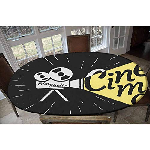 LCGGDB Elastic Polyester Fitted Table Cover,Movie Projector Sketch with Grunge Cinema Lettering on Black Backdrop Decorative Oblong/Oval Elastic Fitted Tablecloth,Fits Tables up to 48' W x 68' L