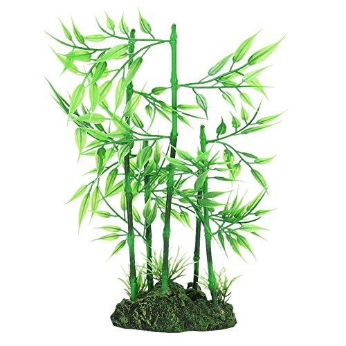 YOUTHINK Realistico Finto Impianto di Resina Acquario Artificiale Vivida Simulazione bambù Bluestone per Acquario Piante Acquatiche Decorazione del Paesaggio(Verde)
