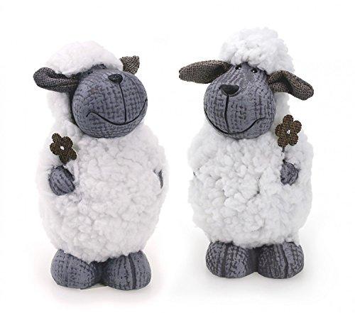 TEMPELWELT Deko Figur Lamm Schaf 2er Set je 14,5 cm, Ton grau Kunstfell weiß, Schäfchen Lämmchen Wollschaf Dekofigur Frühling Ostern