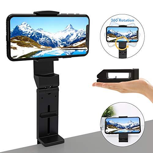 GoZheec Handyhalterung, 360°Drehbarer Handy Ständer Verstellbarer Handy Stativadapter mit Schraubenloch Faltbarer Smartphone Halterung für iPhone 11, 11 Pro, X, XS Max, Huawei (Schwarz)