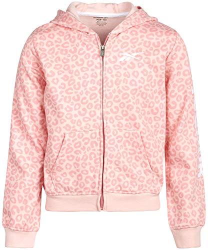 Reebok Girls Zip Up Fleece Sweatshirt Hoodie, Size Small, Pink Animal/Pink