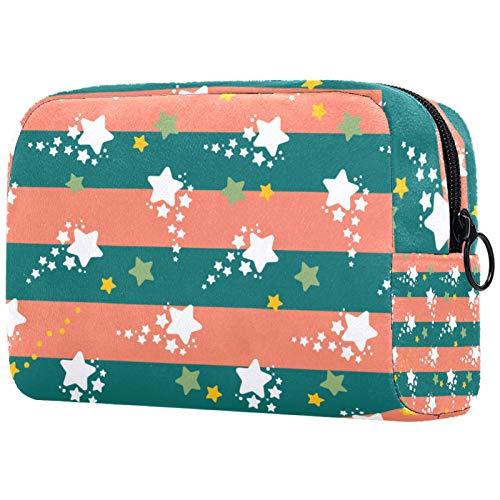 Borsa per pennelli per trucco personalizzata Borse da toilette portatili per borsa da donna Organizer da viaggio cosmetico Stardust Stars Motivo a strisce
