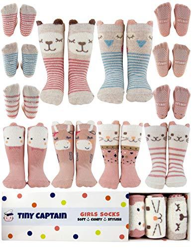 Baby Toddler Girls Animal Grip Tube Socks Non/Slip Anti-Skid (1-3 Year Old, Pink) Hawaii