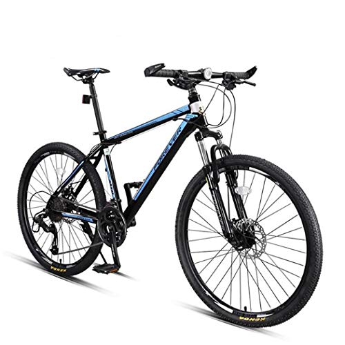 JLFSDB Mountain Bike,26 Inch Men/Women Wheels Bicycles,Carbon Steel Frame,Front Suspension and Dual Disc Brake,27 Speed (Color : Blue)