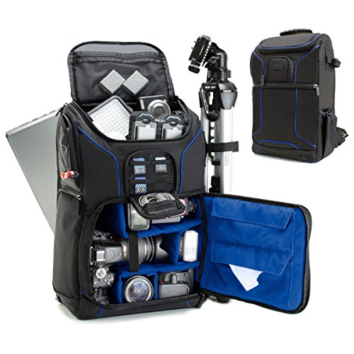 """Digital SLR Camera Backpack with 15.6"""" Laptop Compartment by USA Gear features Padded Custom Dividers, Tripod Holder, Rain Cover and Storage for DSLR Cameras by Nikon, Canon, Sony, Pentax & More"""