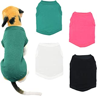 YAODHAOD Solid Color Dog T-Shirts Clothes, Cotton Shirts Soft and Breathable, Dog Shirts Apparel Fit for Small Extra Small Medium Dog Cat 4pcs
