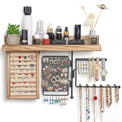 SOLIMINTR Hanging Jewelry Organizer Wall Mount Jewelry Holder with Rustic Wood Shelf, Ring Display Box, Ear Studs Earring Holder, Rotating Necklace Holder Organizer
