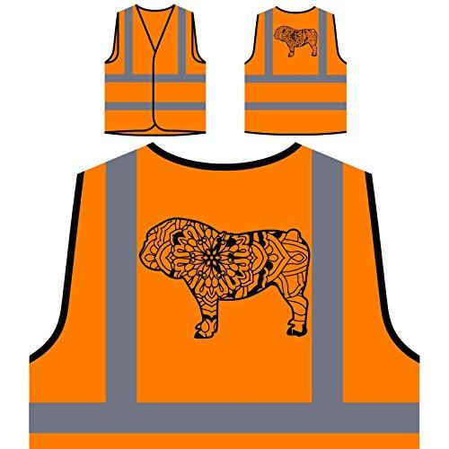 Englische Bulldogge Mandala 1 Personalisierte High Visibility Orange Sicherheitsjacke Weste s839vo