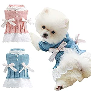 BabYoung Girl Dog Clothes Knitted Dog Dress – Knit Pet Sweaters Clothes for Pets,Small Dog Clothes, Pet Clothes Hoodie,Sweater,Coats(M, Pink)