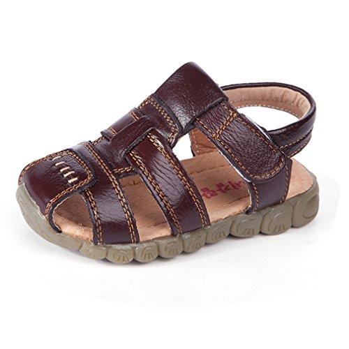Jungen Mädchen Sandalen Kinder Geschlossene Sandalen Boys Girls Sommer Schuhe Sport Outdoor Strand Flache Wanderschuhe(25 EU/Etikettengröße 25,Braun)