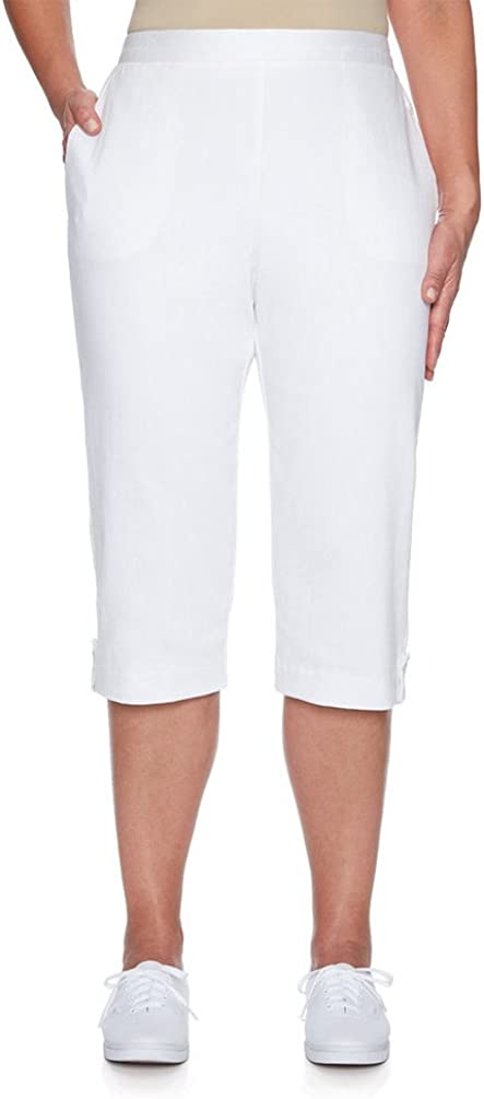 Alfred Dunner Women's Los Cabos depot Pants Cuffed Eyelet Bombing free shipping Solid Capri
