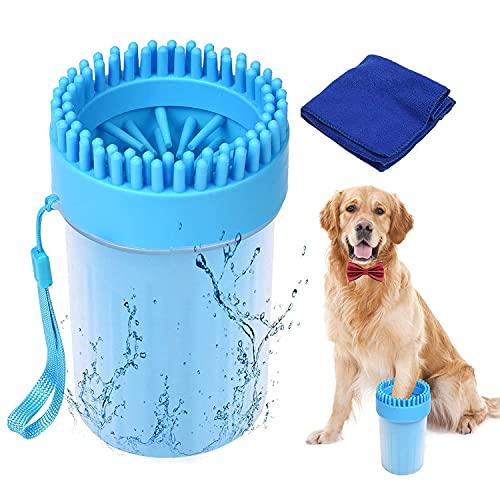 SUPWALL Pfotenreiniger für Hunde with Handtuch Hunde Zubehör , Reinigung Hund Pfotenabdruck Set Haustiere Pfotenreiniger Tragbare Weiche Silikonmassage Hundebürsten, 2 in 1 Aktualisierte Version