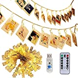 40 LED Photo Clip Lights - Adecorty 8 Modes USB Powered Photo Clips String Lights with Remote & Timer, Gifts for Teen Girls Bedroom Decor Christmas Presents (16.4ft, Warm White)