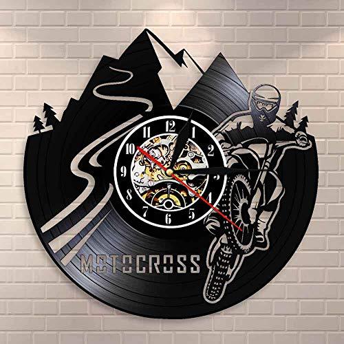 FDGFDG Motocross Bike Wall Clock Boy Room Decoración para el hogar Dirt Bike Vinyl Record Reloj de Pared Motocross Racing Motor Boy Motocycle Riders Gift
