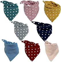 Baby Bandana Bibs Muslin Drool Bibs Breathable Super Absorbent Soft Cotton Scarf Bibs Snap Baby Bibs for Boys & Girls Teething and Drooling 8 Pack(Polka dot+Solid color)