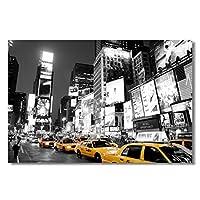 ニューヨークの路上で黄色いタクシーポスターキャンバス絵画壁アートリビングルームの寝室の装飾の写真キャンバスに印刷50x70cmフレームなし