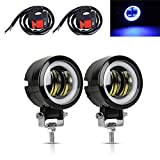 GOODKSSOP 2pcs 20W LED With Blue Demon Angel Eye auxiliary Motorcycle Headlight, Waterproof Floodlight Fog Light, Universal For Car Truck ATV Offroad Tractor SUV Driving Work Spot Lamp + 2pcs Switch