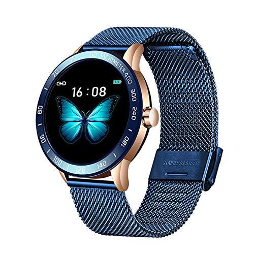 LDJ Reloj inteligente de pulsera de acero para hombre, con frecuencia cardíaca, esfigmomanómetro, modo multifunción, rastreador de fitness, IP67, impermeable, para Android iOS, C