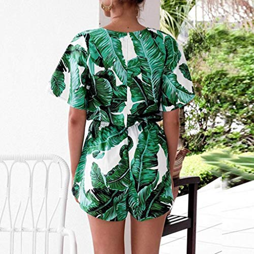 iCJJL Women's Fashion V Neck Leaves Print Short Sleeve Drawstring Waist Jumpsuit Rompers Green