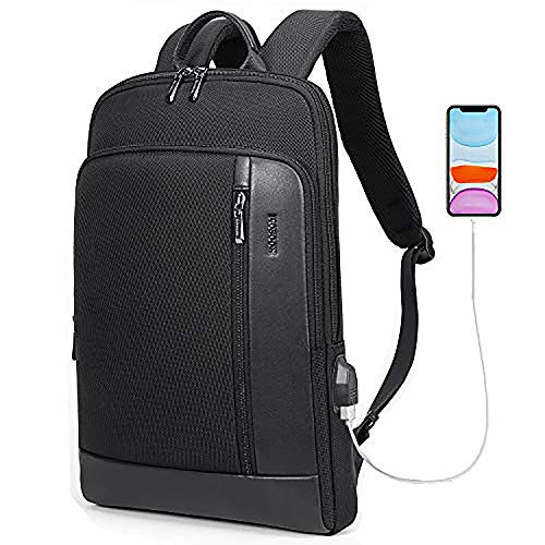 KOOSOM Super Slim Laptop Backpack with USB Charging Port Anti Theft and Water Resistant Travel Business Backpack for Men Women College Students