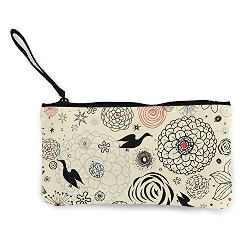 XCNGG Monederos Bolsa de Almacenamiento Shell Floral Pattern with Ducks Fashion Coin Purse Bag Canvas Small Change Pouch Multi-Functional Cellphone Bag Wallet Cosmetic Makeup Bag