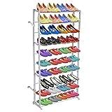 Zapatero zapatero con 10 estantes, 140 x 72 x 20 cm, capacidad de 40 pares de...