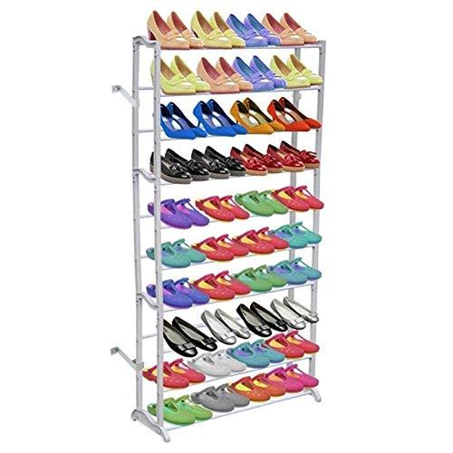 Zapatero zapatero con 10 estantes, 140 x 72 x 20 cm, capacidad de 40 pares de zapatos
