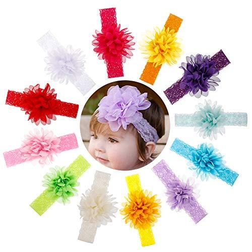 atnight Stirnbänder Baby Mädchen Haarbänder, 12 Stück Blumen Weiches elastisches Stirnband Chiffon Blumen Spitze Stirnbänder Baby Dusche Haarbänder Zubehör für Neugeborene Kleinkinder Mädchen