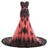 Plus Size Long Mermaid Black Lace Gothic Prom Dress Wedding Evening Gown Coral US 18W