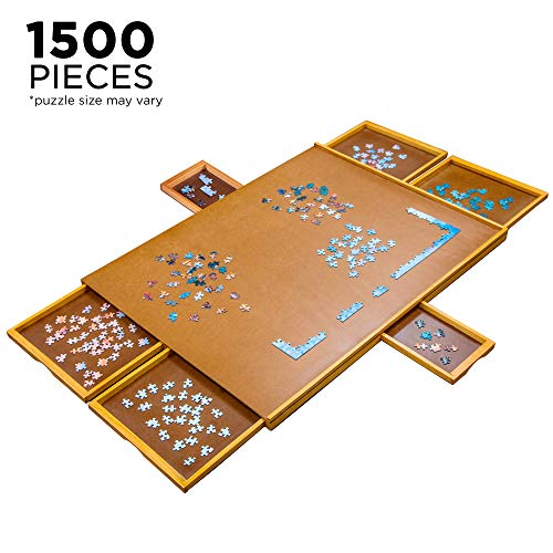 "Jumbl Puzzle Board | 27"" x 35"" Wooden Jigsaw Puzzle Table w/Smooth Plateau Work Surface, 6 Storage & Sorting Drawers & Reinforced Hardwood Construction for Standard Games & Puzzles Up to 1,500 Pieces"